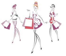 Три девушки с покупками