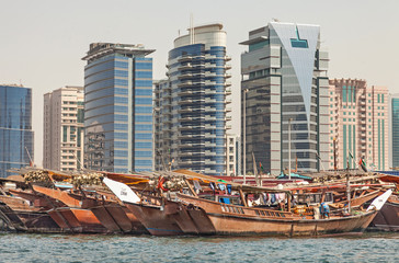 Wall Mural - Dubai Creek with colorful dhows