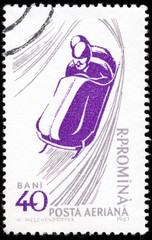 """ROMANIA - CIRCA 1961: A stamp printed in Romania from the """"50th"""