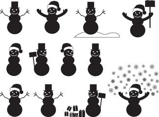 Snowman silhouettes set illustrated on white
