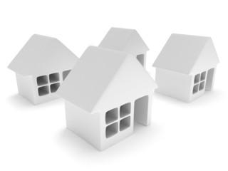White blank houses on white. 3d render.