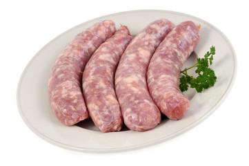 Assiette de saucisses de porc crues