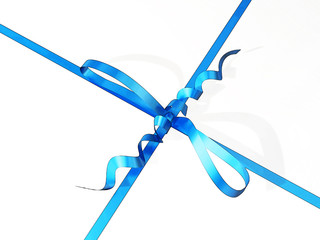 close-up of a gift box with blue ribbon and bow