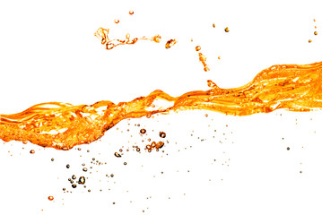orange water splash isolated on white