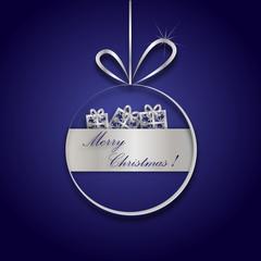 srebrno granatowa karta świąteczna