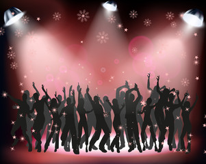 People dancing at a Christmas party on red background