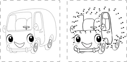 Funny bus drawing with dots and digits