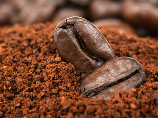 Coffee Beans and Granulated Instant Coffee