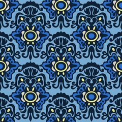 Blue Damask seamless vector pattern