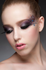 Makeup with rhinestones