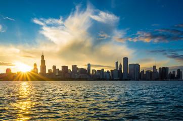 Photo sur Toile Chicago Chicago city downtown urban skyline