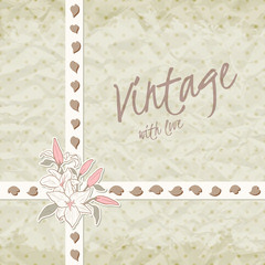 Vintage invitation with ornate detailed flower