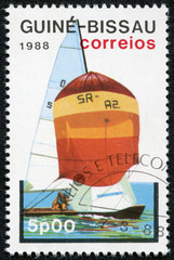 stamp printed in Guinea-Bissau shows sailing boat