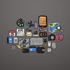 Color doodle icons set