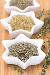 Provence herbs - thyme, oregano and basil, selective focus