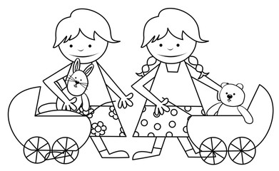 girls and toys - coloring book