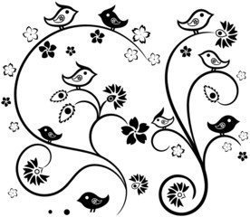 Floral Tracery with Birds