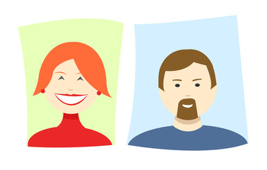 Vector simple cartoon icons of a woman and a man