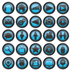 Set of web glass icons