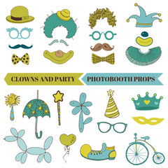 Clown and Party - Photobooth Set - Glasses, hats, lips, mustach