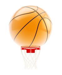 Oversized basketball ball over hoop