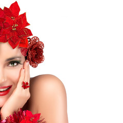 Joyful Christmas Girl. Beauty Winter Woman in red. Holiday Hairs