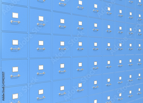 File Storage. Blue Wall Of File Cabinets.