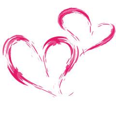 Vektor: Zwei Herzen, freigestellt, Tuschezeichnung