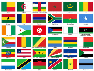 Africa Flags Vector Set