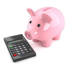 Pink piggy bank with a calculator
