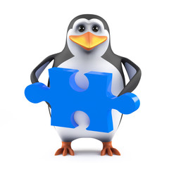 Cute penguin holds the solution