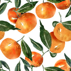 Tangerines seamless pattern