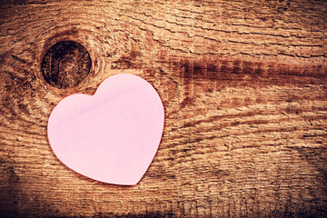 Valentines Day background with copyspace. Pink Paper Heart over