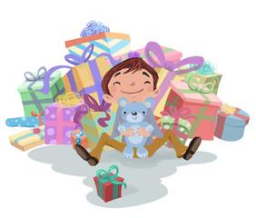 niño con regalos