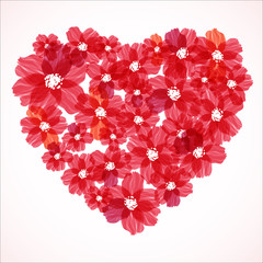 Red heart and flowers. Elegant Valentine`s day background.