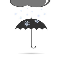 umbrella with snow vector illustration