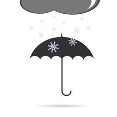 umbrella with snow vector illustration