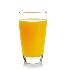 Foto op Canvas Sap Full glass of orange juice isolated on white background