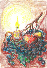 Candle and fruit. picture