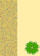 Karte gelb mit grünem Kleeblattherz