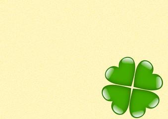 Karte beige mit grünem Kleeblattherz ohne Text