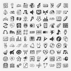 doodle music icons set