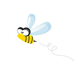 vector bee icon. cartoon cute bright baby bee.