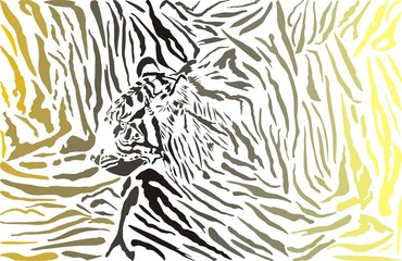 Tiger camouflage background with head