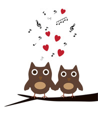 vector owls sitting in the tree with red hearts and notes