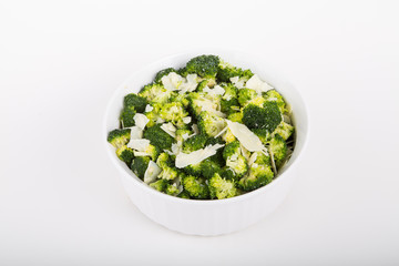 Broccoli in a White Casserole with Parmesan Cheese