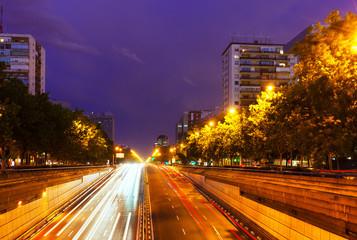 Paseo de la Castellana in  night. Madrid