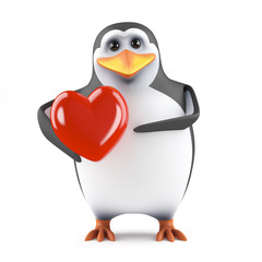 Cute penguin holds a heart