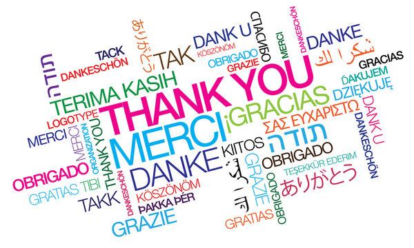 International Thank you gracias word tag cloud greetings