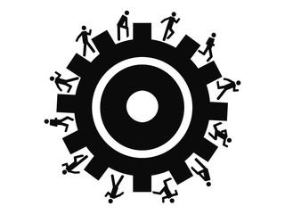 people running around gear